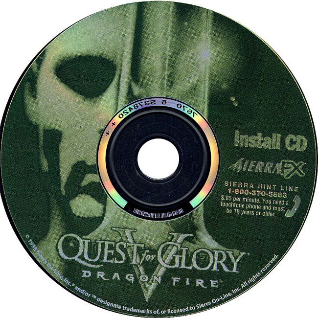 Quest for Glory 5: Dragon Fire - CD obal